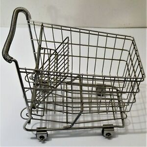 Mini Metal Wire Shopping Cart Grocery Mall Sample Toddler Toy Basket Vintage