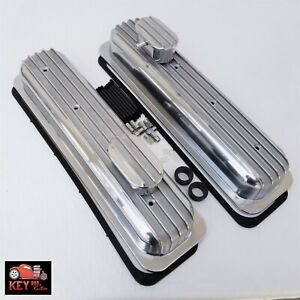 Small Block Chevy Center Bolt Short Finned Aluminum Valve Covers 305 350 Vortec