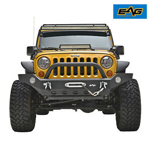 Eag Fit For 07 18 Jeep Wrangler Jk Front Bumper With Winch Plate Black Textured