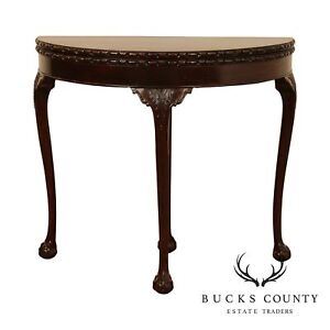 Georgian Style Antique Mahogany Demilune Console Game Table