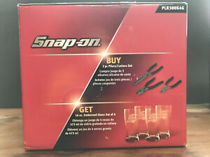 Snap On 3 Piece Pliers Set With 4 Embossed Pint Glasses New