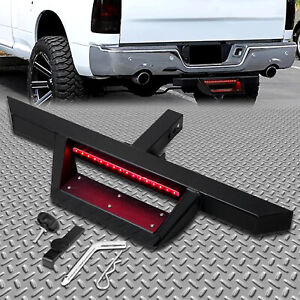 For 2 Tow Trailer Receiver Steel Hitch Step Bar Bumper Guard W Led Brake Light