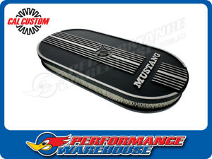Oval Air Cleaner W Mustang Lettering Suit Single 4 Bbl Black Aluminium Suit Ford