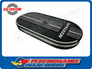 Oval Air Cleaner W Mustang Lettering Suit Dual 4 Bbl Black Aluminium Suit Ford
