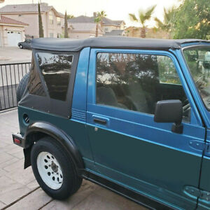 For 1986 1994 Suzuki Samurai Sailcloth Black Replacement Soft Top Tinted Windows