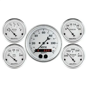 Autometer 1650 Old Tyme White 5 Gauge Set Fuel oil speedo volt water