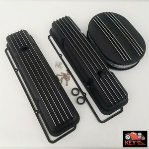 Small Block Chevy Short Black Finned Aluminum Valve Covers 283 305 327 350 400