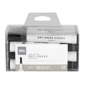 Office Depot Low odor Dry erase Markers Chisel Point Black 12 pack