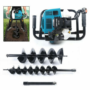 52cc Gas Powered Engine Post Hole Digger Earth Auger Borer Fence 2 Drill Bits