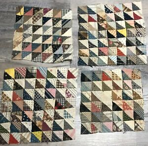 Antique 1910 Vintage Half Square Design Quilt Patchwork Pieces 12 Squares