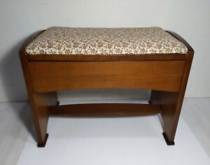 Vintage Antique Art Deco Vanity Sewing Piano Wood Bench Stool Dovetailed Drawer
