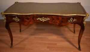1890s Antique French Louis Xv Burl Walnut Leather Top Writing Desk Office Desk