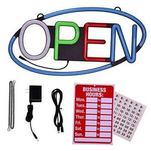 Led Open Sign For Business Large Size 22x11in Super Bright Oval With One Key