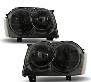 For 2005 2007 Jeep Grand Cherokee Smoked Headlights Headlamps Right left Pair