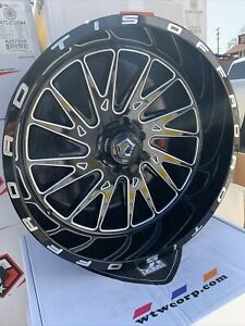 22x12 Tis 547bm Gloss Black Milled Off Road Rims Toyota Chevy Jeep Nissan Ford