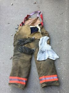 Fire dex Turn Out Pants With Suspenders 38x32 Nomex Hood Firefighter Gloves