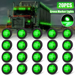 20x Green 3 4 round Led Bullet Clearance Side Marker Lights For Truck Trailer Rv