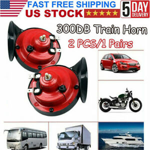 1 Pair 300db Super Train Horn For Truck Car Boat Motorcycle 12v Electric Horn