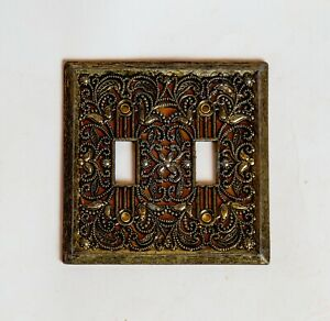 Vintage Dual Double Light Switch Plate Cover Brass