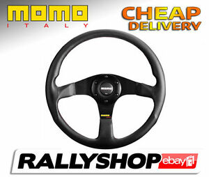 Momo Tuner Black Steering Wheel Cheap Delivery Worldwide Race Rally 350 Mm