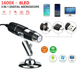 1600x Usb 8led Digital Microscope For Electronic Accessories Coin Inspection