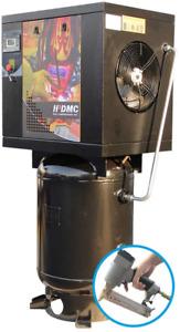 230v 5 5hp Rotary Screw Air Compressor 1 Phase With Vertical 60 Gallon Asme Tank