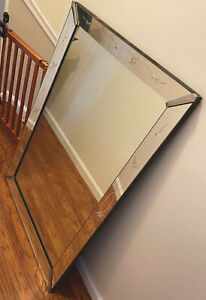 Large Vintage Copper Plated Mirror W Embosed Glass Mirrored Frame 1958