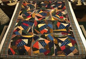 Vintage Antique 1910 Crazy Quilt Comforter 81 X 68 Feather Stitch Gettysburg