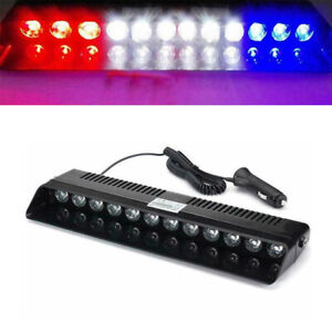 12 Led Car Dash Emergency Strobe Flash Light Warning Lamp White Blue Red