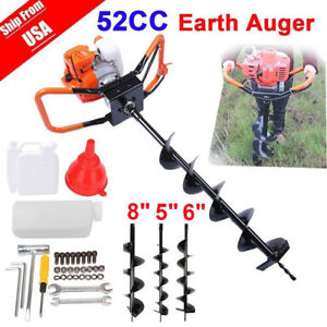 2 5hp 52cc Auger Post Hole Digger Gas Powered Auger Fence Ground Drill 3 Bits
