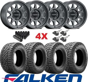 Trd Black Method Wheels Rims Tires 285 70 17 At3 Falken Set Mr316