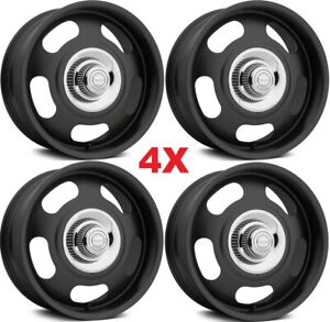 17 Black Wheels Rims Aluminum Alloy Vintage American Racing 4 Lug Rally Rallies