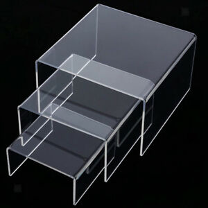 Clear Acrylic Riser Counter Tabletop Jewellery Display Stand Showcase Shelf