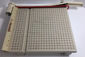Boston 2612 Paper Cutter 12 Trimmer Heavy Duty Guillotine Wood Base read