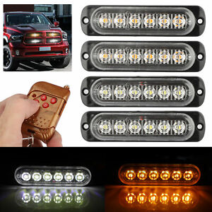 Amber white 6led Car Strobe Hazard Flash Lights Dash Emergency Warning Lamps Kit