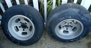 Pair Vintage 15 X 8 5 Slotted Mag Wheels 5x5 5 Inch Tires Ford Bronco Pickup