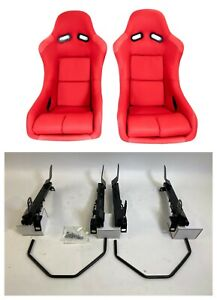 Pair 2 F1spec Type 5 Red Cloth Racing Bucket Seats Jdm For Wrx sti 08 14