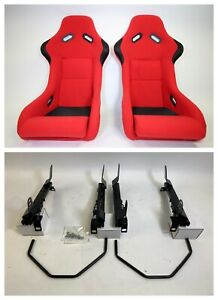 Pair 2 F1spec Type 3 Red Cloth Racing Bucket Seats Jdm For Evo 8 9 03 07