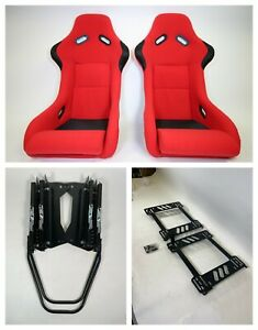 Pair 2 F1spec Type 3 Red Cloth Racing Bucket Seats Jdm For 240sx S13 s14