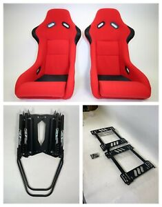 Pair 2 F1spec Type 3 Red Cloth Racing Bucket Seats Jdm For Ek9 96 00