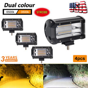 4x 12d 5inch Amber white Strobe Flash Led Work Light Cube Pods Offroad Fog Lamps