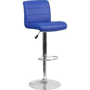 Contemporary Blue Vinyl Adjustable Height Barstool With Rolled Seat And