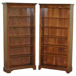 Lovely Pair Of Vintage Flamed Mahogany Library Bookcases Height Adjustable Shelf