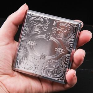 Women s Men s Cigarette Case Vintage Antique Style Silver Etched Design Metal