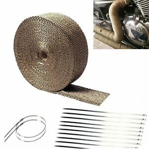 2 50ft Titanium Manifold Fiberglass Exhaust Header Pipe Heat Wrap 10 Zip Ties