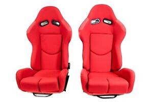Pair 2 F1spec R1 Red Cloth Racing Reclinable Seats Jdm With Sliders