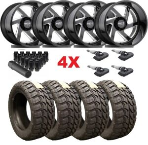 Gloss Black Milled Forged 22x14 Wheels Rims Tires 35 12 50 22 8x180 2500 3500