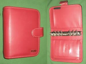 Compact 1 25 Red Faux Leather Franklin Covey Day One Planner Binder Organizer