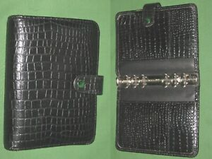 Compact 1 0 Black Reptile Leather Day Runner Planner Binder Franklin Covey