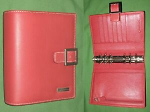 Compact 1 25 Red Leather Franklin Covey Planner Open Binder Organizer 2196